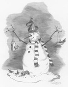 Bird Lover Snowman Pencil Sketch by Craig Cassell, a quadraplegic artist who draws with his mouth.