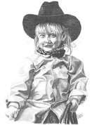 Little Cowgirl Pencil Sketch by Craig Cassell, a quadraplegic artist who draws with his mouth.