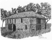 Livery Stable Pencil Sketch by Craig Cassell, a quadraplegic artist who draws with his mouth.
