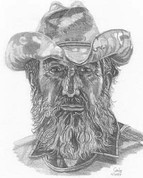 Cowboy Pencil Sketch by Craig Cassell, a quadraplegic artist who draws with his mouth.