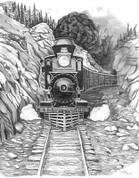Train Coming Through the Pass Pencil Sketch by Craig Cassell, a quadraplegic artist who draws with his mouth.