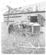 Rustic Tractor & Shed Pencil Sketch by Craig Cassell, a quadraplegic artist who draws with his mouth.