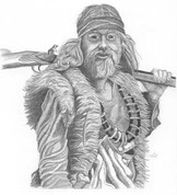 Mountain Man Pencil Sketch by Craig Cassell, a quadraplegic artist who draws with his mouth.