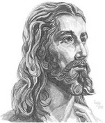 Jesus Pencil Sketch by Craig Cassell, a quadraplegic artist who draws with his mouth.