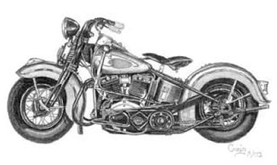 Vintage Motorcycle Pencil Sketch by Craig Cassell, a quadraplegic artist who draws with his mouth.