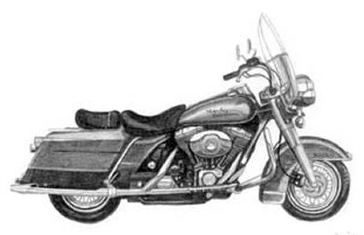 Let's Go For a Ride Motorcyle Pencil Sketch by Craig Cassell, a quadraplegic artist who draws with his mouth.