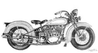 Motorcycle Pencil Sketch by Craig Cassell, a quadraplegic artist who draws with his mouth.