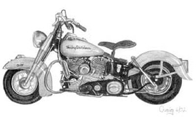 Vintage Harley Pencil Sketch by Craig Cassell, a quadraplegic artist who draws with his mouth.