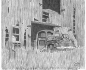 Old Barn Pencil Sketch by Craig Cassell, a quadraplegic artist who draws with his mouth.