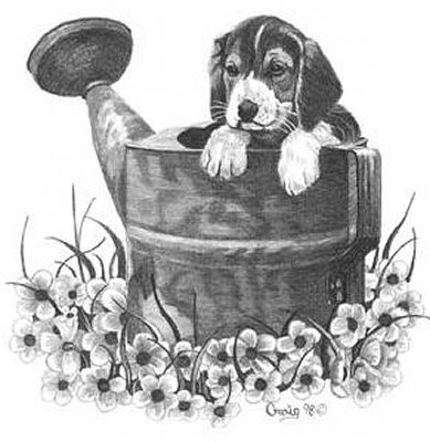 Puppy with Watering Can Pencil Sketch by Craig Cassell, a quadraplegic artist who draws with his mouth.