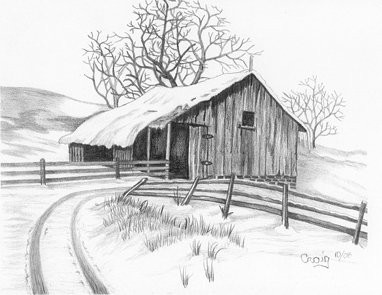 Vintage Barn With Snow Covered Lane Pencil Sketch