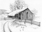 Vintage Barn with Snow Covered Lane Pencil Sketch by Craig Cassell, a quadraplegic artist who draws with his mouth.