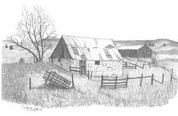 Old Stonewall Barn Pencil Sketch by Craig Cassell, a quadraplegic artist who draws with his mouth.