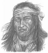 Indian Scout Pencil Sketch by Craig Cassell, a quadraplegic artist who draws with his mouth.