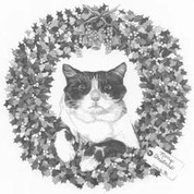 Christmas Kitten Wreath Pencil Sketch by Craig Cassell, a quadraplegic artist who draws with his mouth.