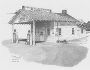 Old Time Gas Station Pencil Sketch by Craig Cassell, a quadraplegic artist who draws with his mouth.