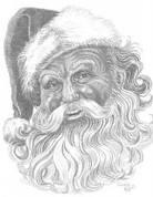 Old Man Christmas Pencil Sketch by Craig Cassell, a quadraplegic artist who draws with his mouth.