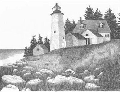 Eternal Light Lighthouse Pencil Sketch by Craig Cassell, a quadraplegic artist who draws with his mouth.