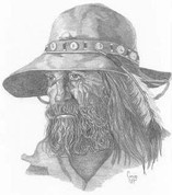 Fur Trapper Pencil Sketch by Craig Cassell, a quadraplegic artist who draws with his mouth.