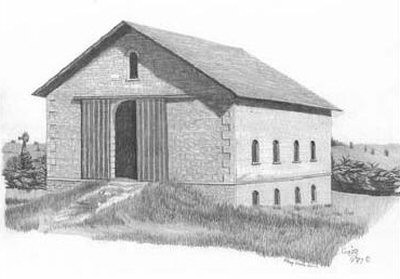 Old Bank Barn Pencil Sketch by Craig Cassell, a quadraplegic artist who draws with his mouth.