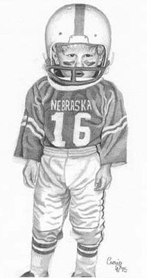 Lil' Husker Football Player Pencil Sketch by Craig Cassell, a quadraplegic artist who draws with his mouth.