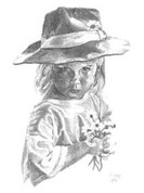 Bashful Little Girl Pencil Sketch by Craig Cassell, a quadraplegic artist who draws with his mouth.