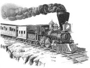 Steam Engine Locomotive Pencil Sketch by Craig Cassell, a quadraplegic artist who draws with his mouth.