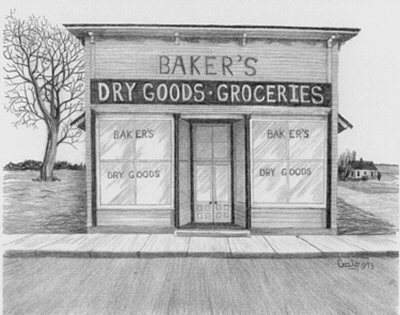 Baker's Grocery Store Pencil Sketch by Craig Cassell, a quadraplegic artist who draws with his mouth.