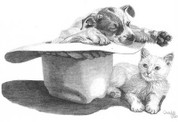 Puppy and Kitten Naptime Pencil Sketch by Craig Cassell, a quadraplegic artist who draws with his mouth.