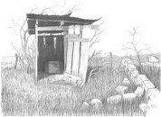 Old Fashioned Outhouse Pencil Sketch by Craig Cassell, a quadraplegic artist who draws with his mouth.