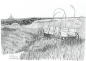 Chuckwagon at Chimney Rock Pencil Sketch by Craig Cassell, a quadraplegic artist who draws with his mouth.