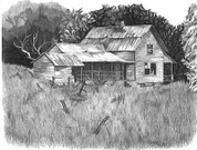 Old House Pencil Sketch by Craig Cassell, a quadraplegic artist who draws with his mouth.