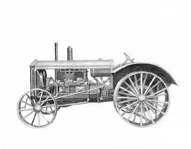 Antique Rumely Tractor Pencil Sketch by Craig Cassell, a quadraplegic artist who draws with his mouth.