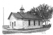 Country School Pencil Sketch by Craig Cassell, a quadraplegic artist who draws with his mouth.