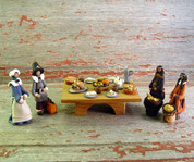 Thanksgiving display with handcrafted polymer clay figurines by Heaven Sent Originals.