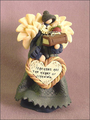 "Teachers Angel ""Teachers are the Heart of Learning"" Polymer Clay  Figurine"
