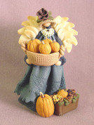 Harvest Angel w/ Pumpkins Polymer Clay Figurine