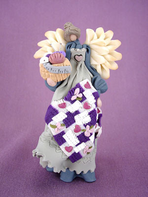 Quilter's Angel Polymer Clay Figurine
