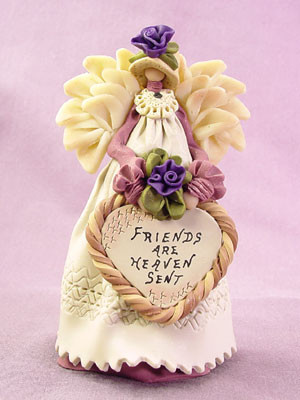 Friends are Heaven Sent Angel Polymer Clay Figurine