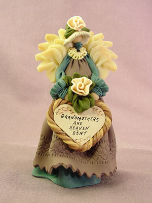 """""""Grandmothers are Heaven Sent"""" Angel Polymer Clay Figurine"""