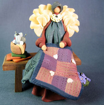 Quilting Angel on Bench Polymer Clay Figurine