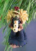 Angel Ornament with Snowman Polymer Clay Figurine