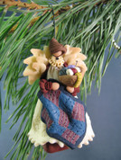 Angel Ornament with Quilt Polymer Clay Figurine