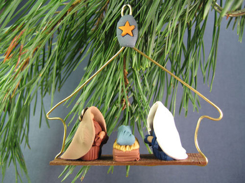 Holy Family Christmas Ornament handcrafted with polymer clay.