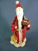Santa w/ Birdhouse and Nest Figurine Polymer Clay Figurine