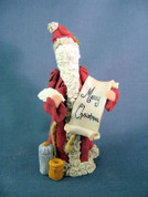 "Santa & Scroll ""Merry Christmas"" Figurine Polymer Clay Figurine"
