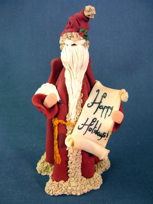 Happy Holidays Santa Figurine Figurine Polymer Clay Figurine