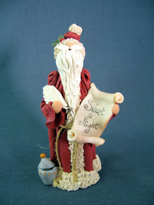 Santa w/Silent Night Scroll Figurine Polymer Clay Figurine