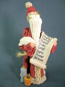 Santa w/ Reindeer Names Scroll Figurine Polymer Clay Figurine