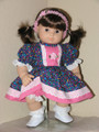Handmade 15 inch Doll Clothes for Bitty Baby, Twin Girl - Blue Pink Dot Dress